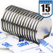"""DIYMAG 15pcs 1.26""""D x 0.08""""H Powerful Neodymium Disc Magnets, Strong, Permanent, Rare Earth Magnets, Fridge, DIY, Building, Scientific, Craft, and Office Magnets"""