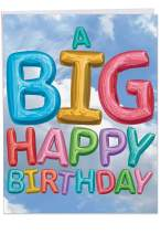 Inflated Messages From Us Birthday - Balloons Happy Birthday Card with Envelope (Big 8.5 x 11 Inch) - Colorful Bday Notecard for Kids, Child - Stationery for Personalized Group Greeting J5651DBDG-US
