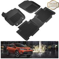 KIWI MASTER Floor Mats Compatible for 2013-2018 Toyota RAV4 Accessories All Weather 1st & 2nd Black Front Rear Row Liners (Non-Hybrid) PT208-42165-20