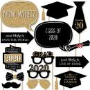 Big Dot of Happiness Graduation Party - Gold - 2020 Grad Photo Booth Props Kit - 20 Count