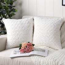 Mandioo Pack of 2 Pure White Faux Fur 3D Flower Pattern Fuzzy Cozy Soft Decorative Throw Pillow Covers Set Cushion Cases Pillowcases for Couch Sofa Bedroom Car 16x16 Inches