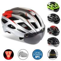 Shinmax Adults Bike Helmet,Bicycle Helmet CPSC/CE Safety Standard Cycling/Climbing Helmet/MTB/BMX Adjustable Helmet with Removable Shield Visor/Safety Rear Led Light for Road Men&Women SM-T69