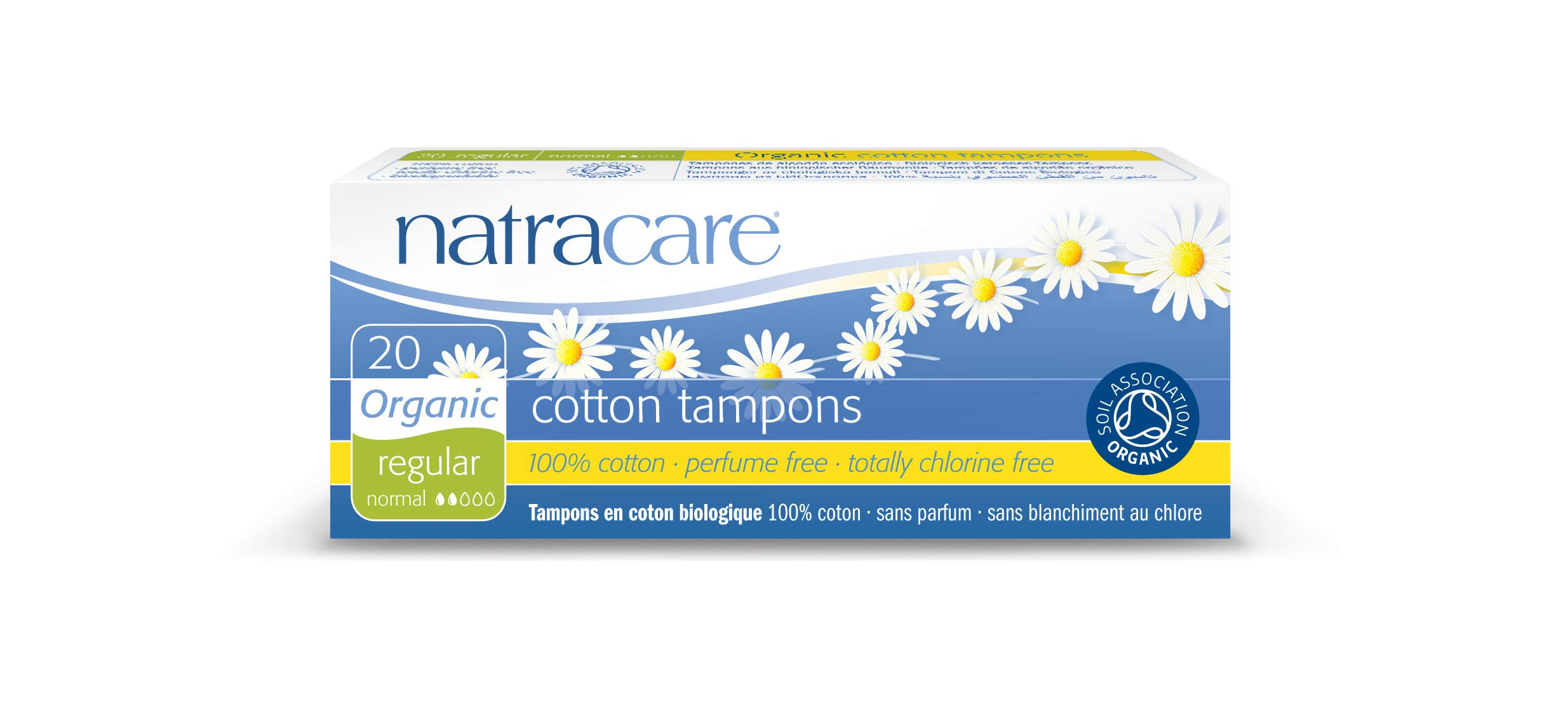 Natracare Organic All Cotton Tampons, Non-Applicator, Regular,  20 Count, Pack of 12