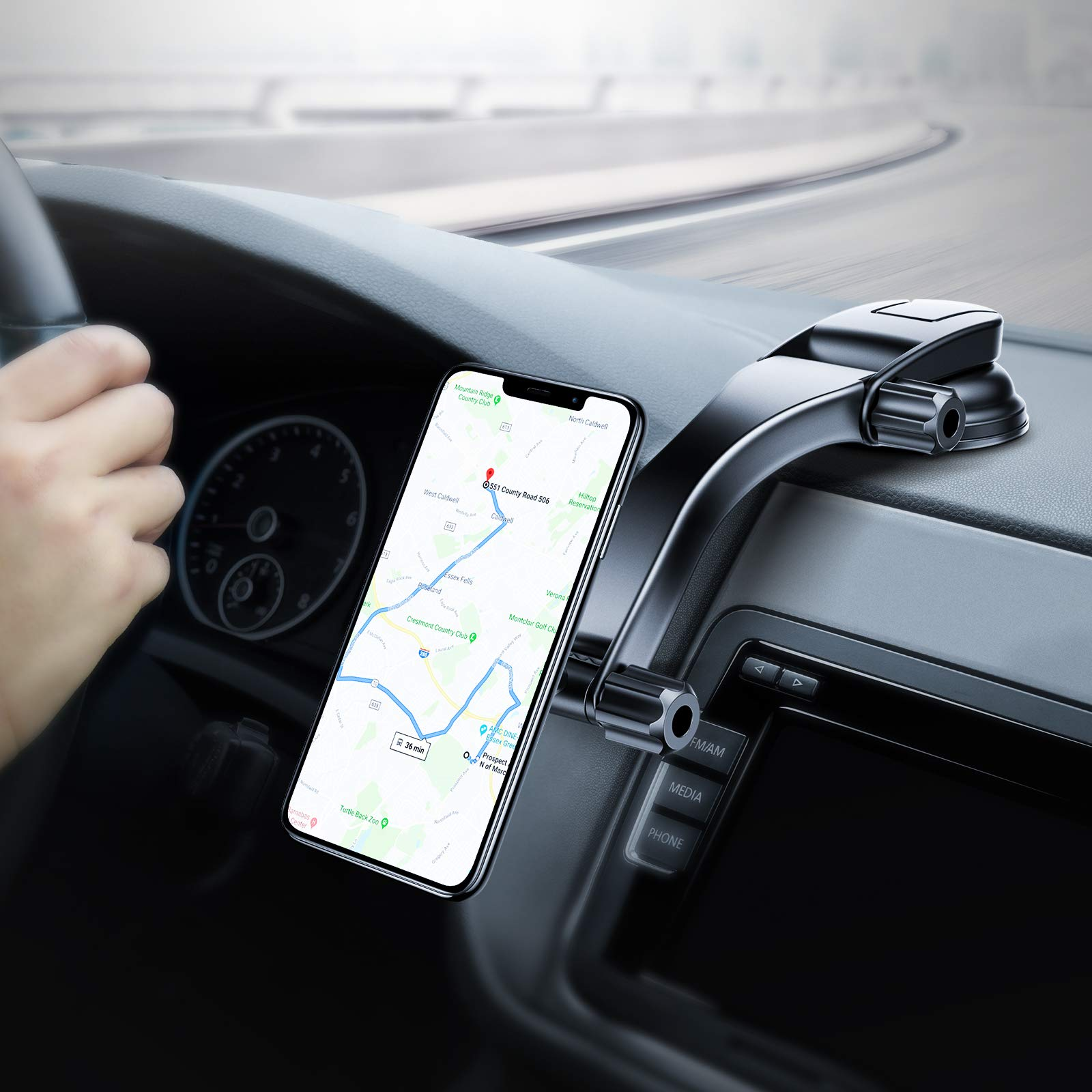 TORRAS Magnetic Car Mount, Adjustable Long Arm Car Phone Holder, Dashboard Mounts Smartphone Holder Stand Compatible with iPhone 11 Pro Max/X/XR/Xs Max/8/7 Plus, Galaxy Note 10/S10 Plus/S9 Google