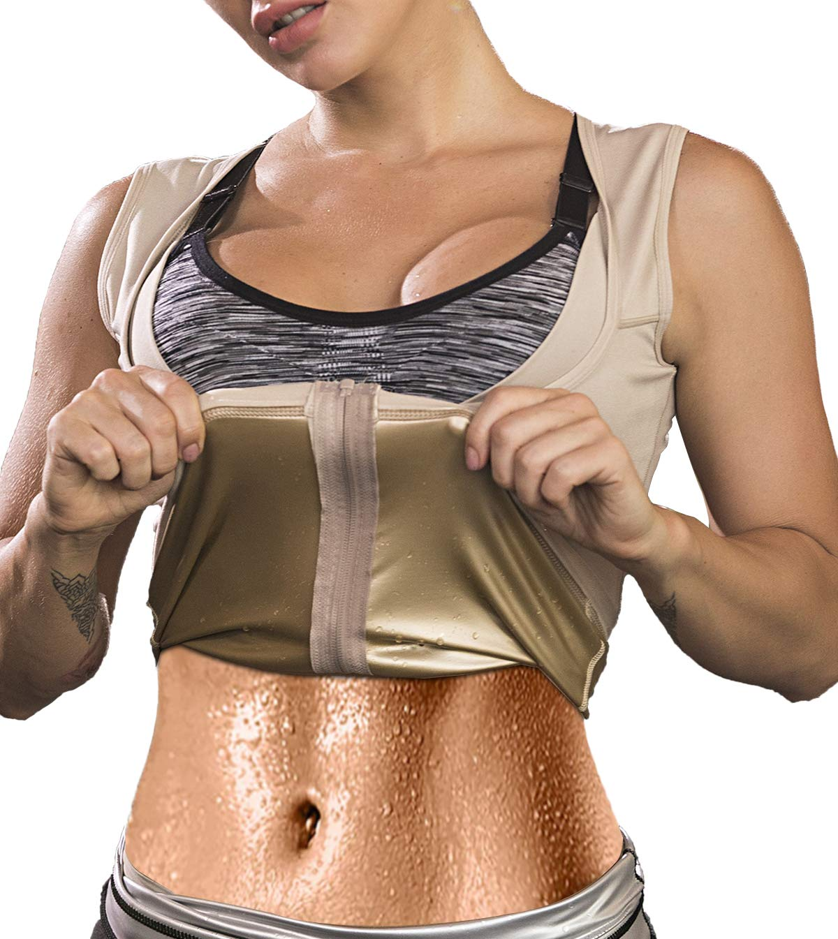 SAYFUT Women Sauna Sweat Vest Polymer Slimming Workout Sauna Tank Top Shapewear for Weight Loss