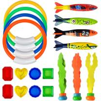 BLUELF 19pcs Diving Pool Toys Underwater Sinking Swimming Pool Toy for Kids Includes Diving Rings(4pcs), Toypedo Bandits(4pcs), Diving Balls(3pcs), Private Treasures(8pcs) Gift Set Bundle