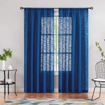 """Fmfunctex Semi-Sheer Blue Curtains for Bedroom 72"""" Long Not See Through Linen Textured Window Curtain Panels for Living Room Privacy Drapes Navy 2pcs 50"""" w Rod Pocket"""