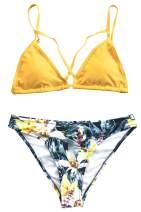 CUPSHE Women's Yellow Floral Cross Triangle Thong Low Waisted Bikini Set