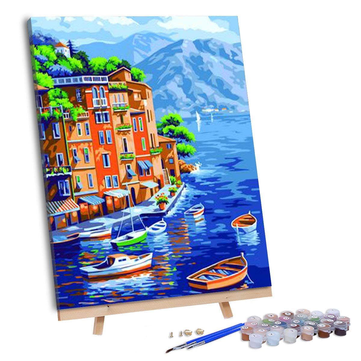 VIGEIYA DIY Paint by Numbers for Adults Include Framed Canvas and Wooden Easel with Brushes and Acrylic Pigment 15.7x19.6inch