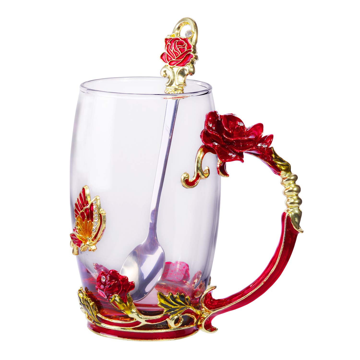Tea Cup Coffee Mug Glassess Cups & Spoon Beautiful Unique Gift For Women Butterfly Rose (Rose Box)