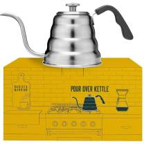 Barista Warrior Stainless Steel Pour Over Coffee & Tea Kettle with Thermometer for Exact Temperature - Gooseneck Spout Pots - Kitchen Appliances & Dorm Essentials (1.2 Liter, 40 fl oz)