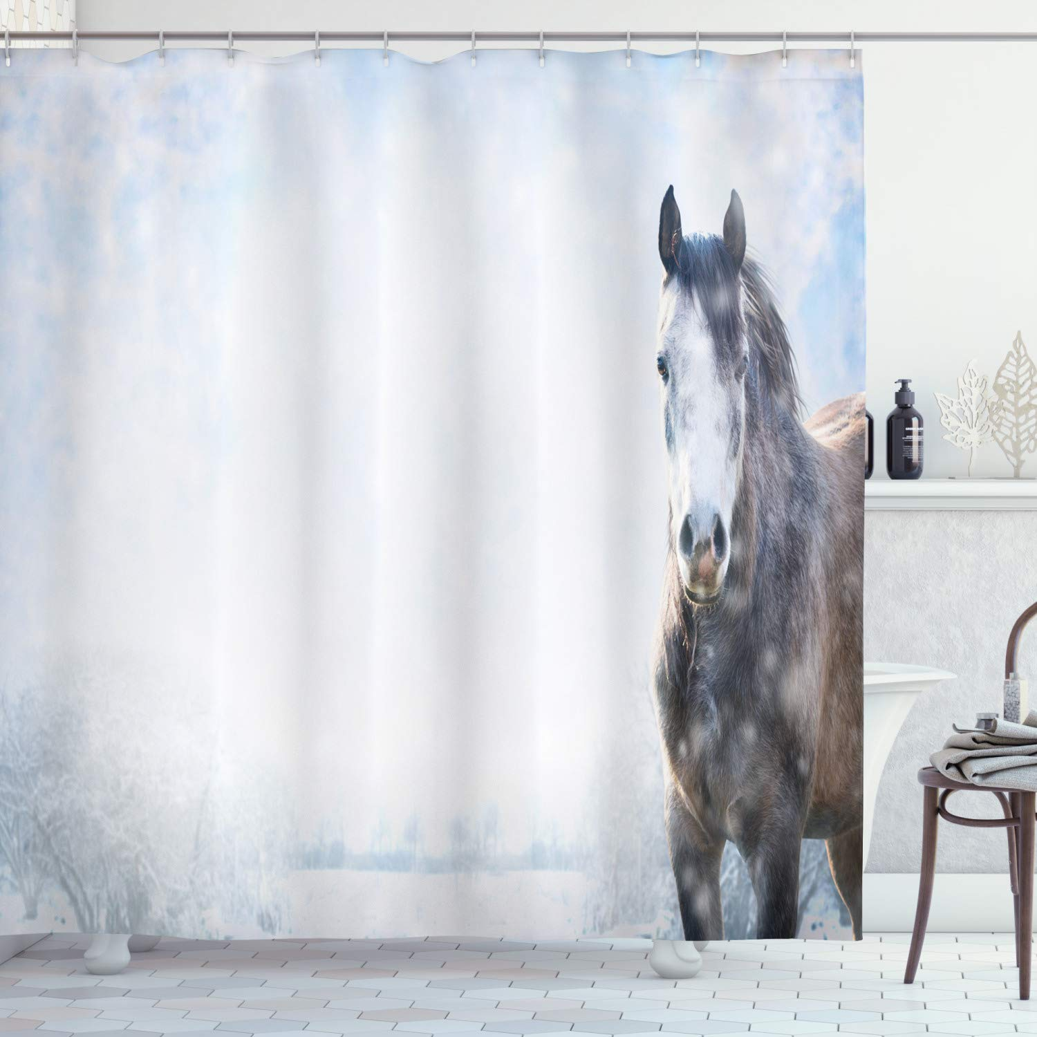 """Ambesonne Country Shower Curtain, Grey Horse on Winter Landscape with Snowfall in Wilderness Royal Animal in Nature, Cloth Fabric Bathroom Decor Set with Hooks, 70"""" Long, White Brown"""