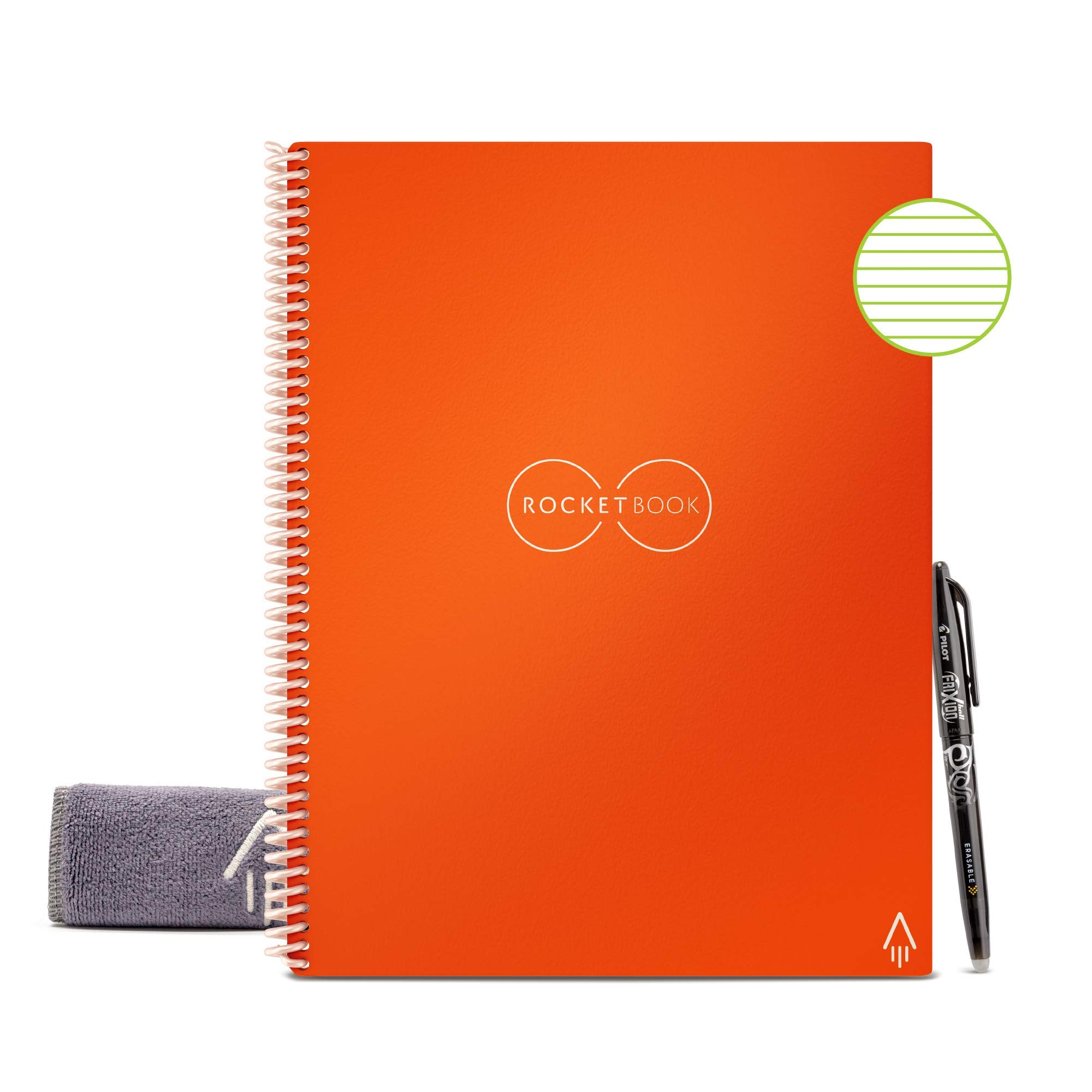 """Rocketbook Smart Reusable Notebook - Lined Eco-Friendly Notebook with 1 Pilot Frixion Pen & 1 Microfiber Cloth Included - Beacon Orange Cover, Letter Size (8.5"""" x 11"""")"""