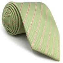 SHLAX&WING Ties for Men Light Green Olive Stripes Necktie Silk New Design