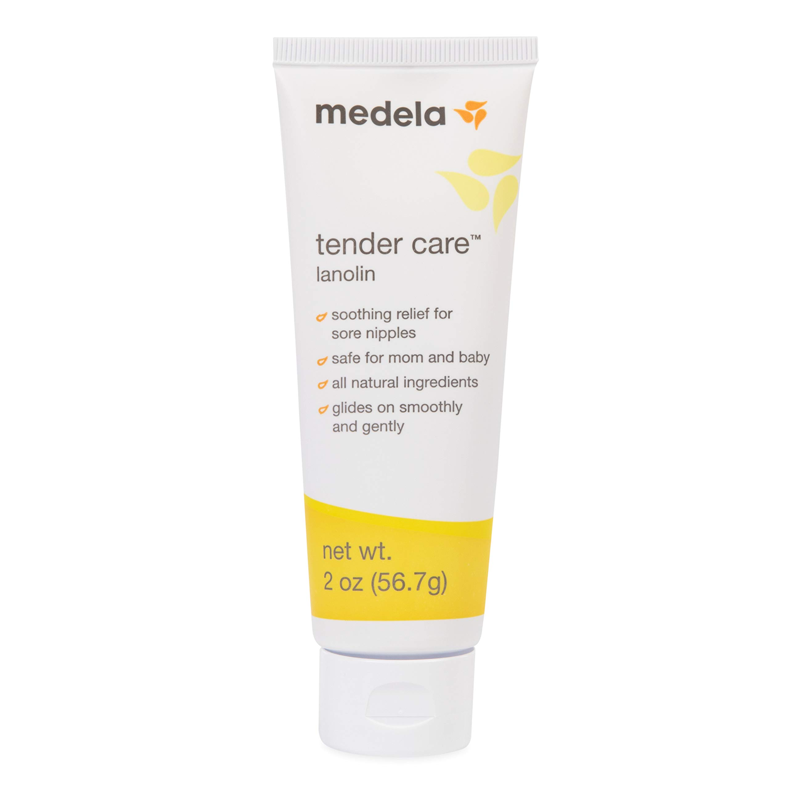 Medela, Tender Care, Lanolin Nipple Cream for Breastfeeding, All-Natural Nipple Cream, Tender Care Lanolin, Offers Soothing Protection, Hypoallergenic, All-Natural Ingredients, 100% Safe, 2 oz. Tube