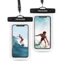 """Polaland Waterproof Phone Pouch, Universal Cell Phone Dry Bag Underwater Case for iPhone 11 Pro Xs Max SE 2020 XR X 8 Plus 7 6S, Galaxy S20+ S20 Ultra 5G, S10+, Note 10+ up to 6.9"""" - Clear (2 Pack)"""