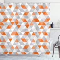 "Ambesonne Geometric Shower Curtain, Triangles Argyle Polygon Patterns Vibrant Colors Zigzag Ornament, Cloth Fabric Bathroom Decor Set with Hooks, 70"" Long, Orange Salmon"