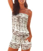 Sumtory Women's Strapless Printed Short Rompers Beachwear One Piece Jumpsuit