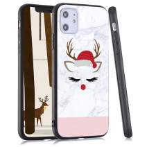 LuGeKe Cute ELK Merry Christmas Print Hybrid Phone Case for iPhone 11 Pro Max Soft TPU Frame Hard PC Back Cover for iPhone Shockproof Scratch Resistant(Eyelash Marble Style)