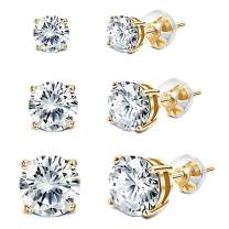 Sllaiss 925 Sterling Silver Swarovski Crystal Earrings Sets Stud Earrings for Women(3 Pairs 4mm 6mm 8mm)