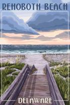 Rehoboth Beach, Delaware - Beach Boardwalk Scene (12x18 Art Print, Wall Decor Travel Poster)