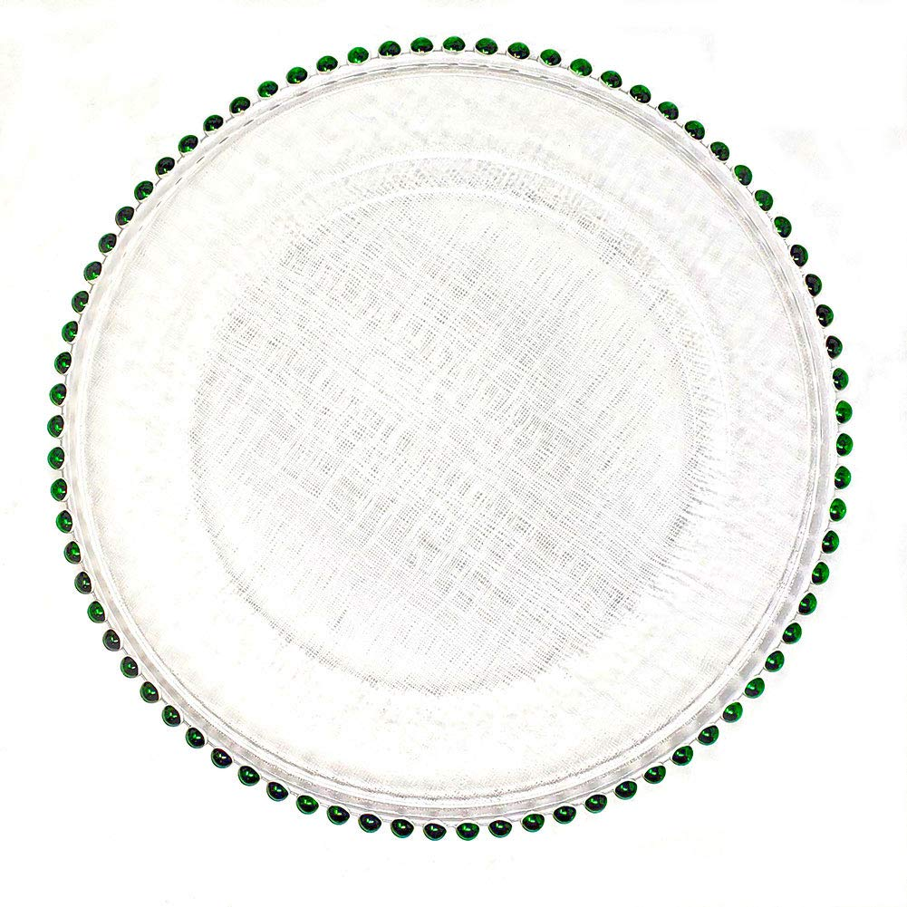 #1#1 Christmas Festive Red and Green Combo 13-Inch Beaded Rim Clear Glass Charger Plates Wedding Christmas Anniversary Modern Formal Service Dining Entertaining Home Kitchen Party Decor (12, green)