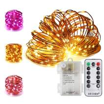 ER CHEN 66Ft 200 LED String Lights, Battery Operated Copper Wire Color Changing Christmas Fairy Lights with 8 Modes Remote Control Timer for Bedroom, Patio, Wedding and Party (Warm White & Purple)