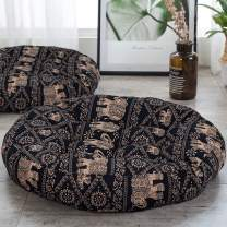 HIGOGOGO Meditation Cushion, Elephant Pattern Mandala Bohemian Style Floor Pillow Round Cotton Linen Boho Indian Seat Cushion Yoga Pillow for Floor Reading Book Bay Window, 22 Inch, Black