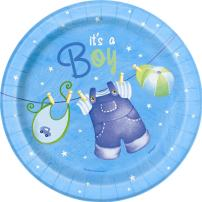 Blue Clothesline Boy Baby Shower Dessert Plates, 8ct