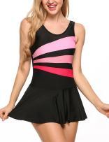 Avidlove Women's Swimsuit Dress Geometric Tankini Boy Short(Black,L)