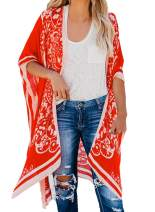 Asvivid Womens Boho Floral Printed Kimono Bikini Cover Up Casual Loose Open Front Cardigan Beach Swimwear