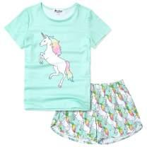 Jxstar Girls Unicorn /Mermaid/Flamingo Pajamas Kids Cotton Pjs Set Sleepwear 3-13Years
