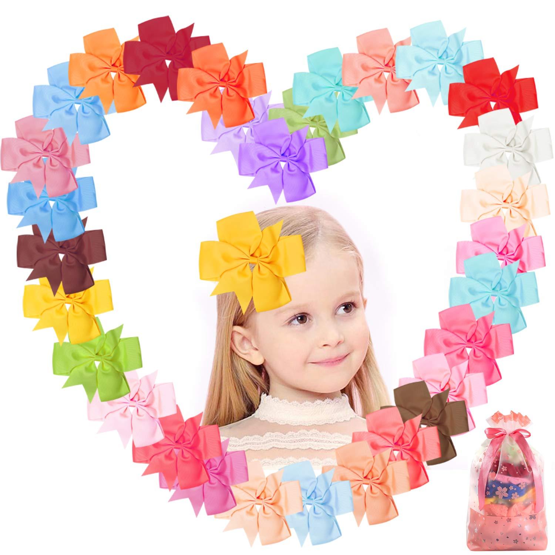 6 inch Hair Bows Grosgrain Ribbon Pinwheel Boutique Hair Bows Clips For Girls Teens Toddlers Kids Children