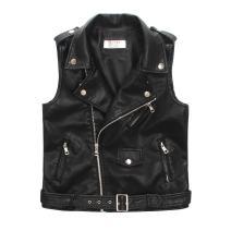 LJYH Faux Leather Motorcycle Dress Casual Boys Joker Vest (Black)