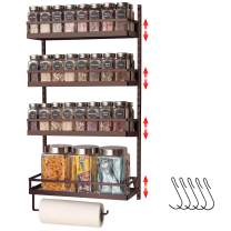 X-cosrack 4 Tier Wall Mounted Spice Rack with Towel Hanger Height Adjustable Seasoning Condiment Jar Organizer Shelf with Hooks for Kitchen Cabinet Door Widen Toiletries Storage Basket Rack, Brown