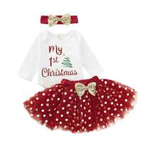 Christmas Kids Newborn Infant Baby Girls Xmas Outfits 1st Christmas Romper Bodysuit+Dots Tutu Skirt Santa Clothes Set