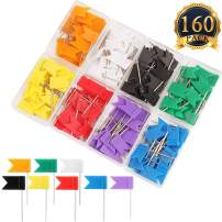 SUBANG 160 Pieces Colorful Push Pins Flag Map Tacks - Map Pins of Each Color are Packed in 8 Boxes, 8 Colors Push Tacks