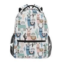 ZZKKO Animal Llama Alpacas Computer Backpacks Book Bag Travel Hiking Camping Daypack