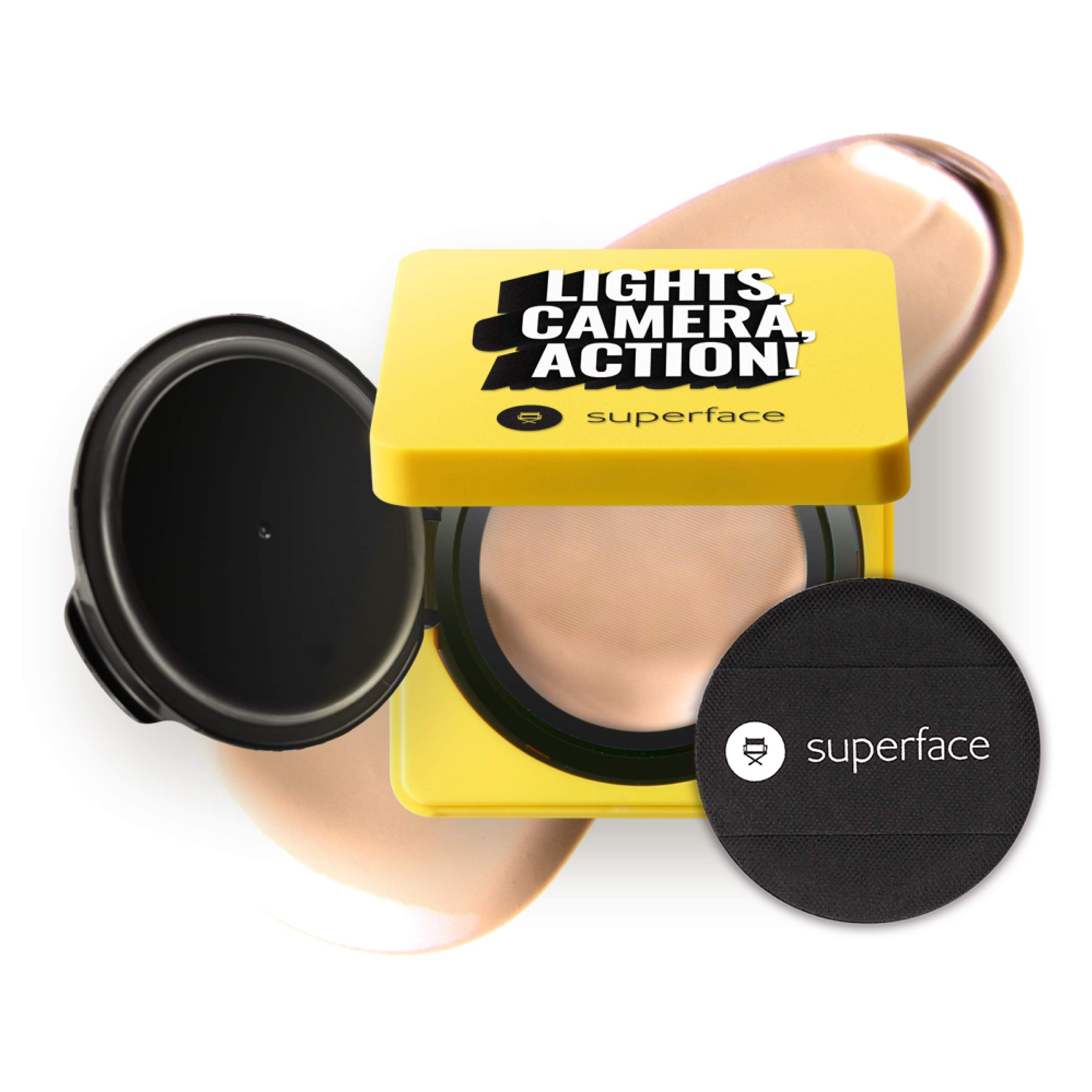 Superface Zoom In Mesh Cushion, SPF 50+, PA+++ Oil Control, Anti-Wrinkling, Anti Redness, UV Protection Multi-use Cushion Foundation Full Coverage Makeup for Sensitive Skin(0.42oz.)(02 Natural)