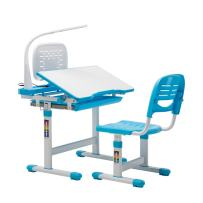 Mecor Blue Height Adjustable Children Desk and Chair Set w/Lamp School Student Writing Desk w/Pull Out Drawer Storage,Pencil Case, Bookstand | Kids Interactive Workstation