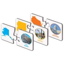 The Learning Journey: Match It! - States & Capitals - Puzzle of States and Capitals Flash Cards - 50 Two-Piece Self-Correcting Puzzle Cards - Award Winning Toys