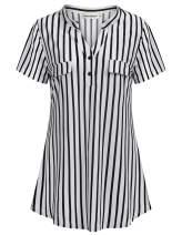 Nandashe Women's Short Sleeve Shirt V Neck Button Down Blouses Casual Tunic Tops