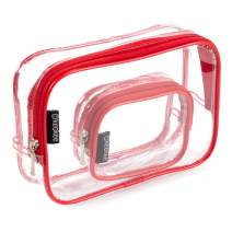 Keokee Clear Toiletry Bag Set, Quart Size with Smaller Case for Travel and Organizing, TSA Compliant for 3-1-1 Liquids (Red)