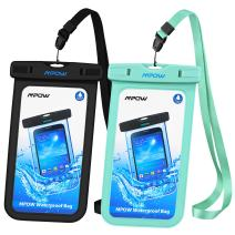 Mpow Universal Waterproof Case, IPX8 Waterproof Phone Pouch Dry Bag Compatible for iPhone 11/Xs Max/Xs/Xr/X/8/8plus/7/7plus/6/6s Plus Galaxy s10/s9/s8 Note 10/9 Google Pixel HTC12 (Black+Blue 2-Pack)
