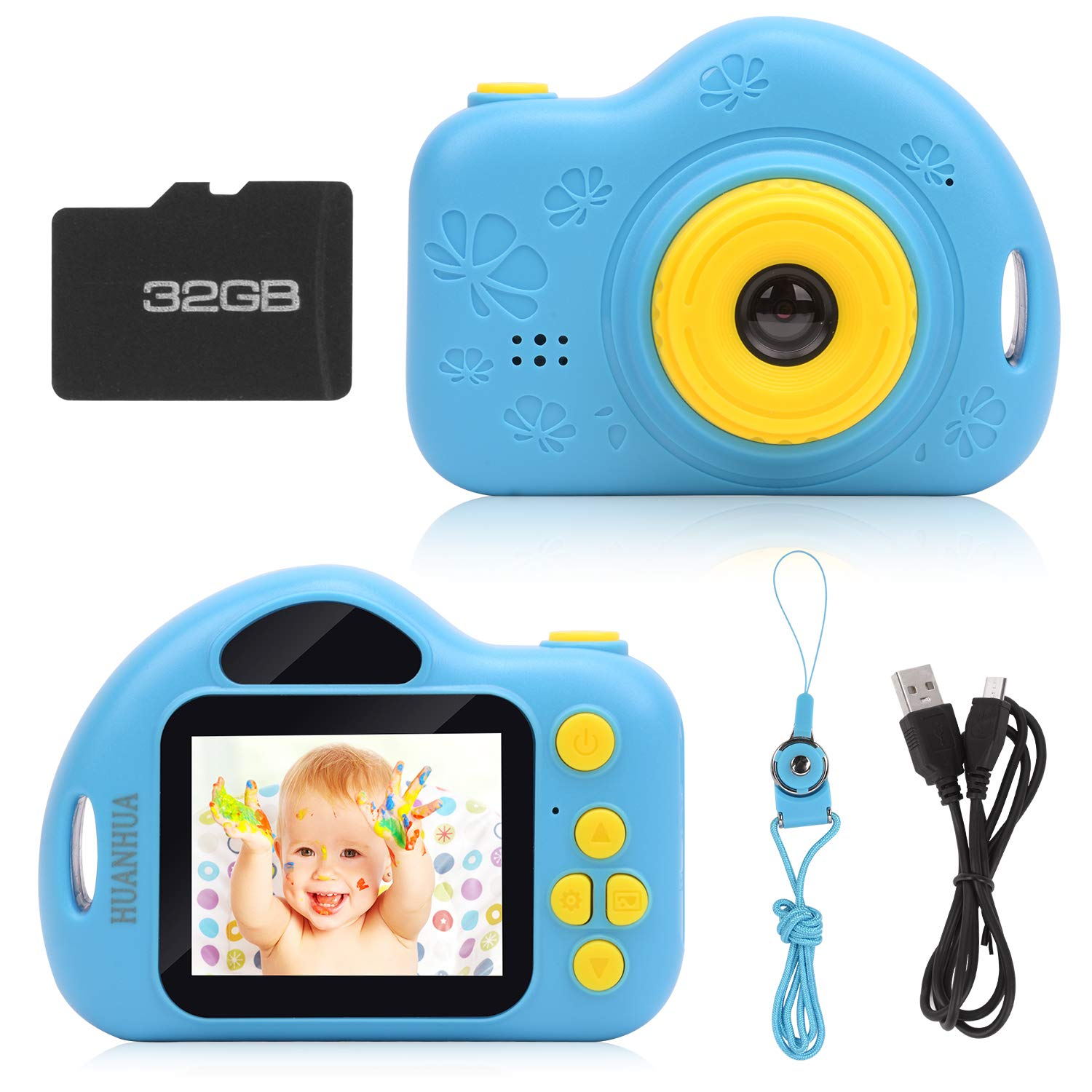 HUANHUA Kids Camera, Children's Digital Camera with 32GB TF Card, Rechargeable Selfie Camera, Child Camcorder with 2.0 inches Screen, HD 5MP/1080P Dual Lens, Birthday Gift for Boys Girls Age 3-10