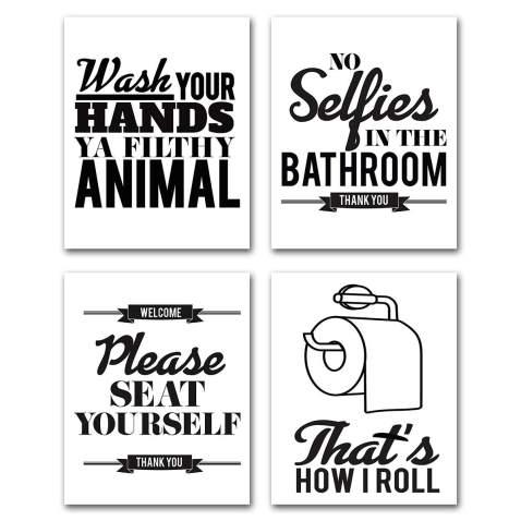 Modern wall art Kids bathroom art 3 piece wall art Set of 3 prints Bathroom sign Bathroom rules sign Bathroom wall art Print set
