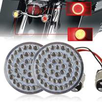 "Atubeix Bullet style 2"" LED Turn Signals For Motorcycle Rear tail lights kits Red color 1157 base Plug and Play (1157 Red Red)"