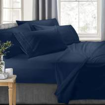 Clara Clark 7-Piece Bed Sheets - Luxury Pleated Sheets Set Bedding Sheet Set, 100% Soft Brushed Microfiber Flat Sheet, Fitted Sheet, Pillowcases Cool & Breathable - Split King - Navy