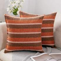 MIULEE Pack of 2 Decorative Classic Retro Stripe Throw Pillow Covers Linen Modern Farmhouse Pillow Case Cushion Case for Sofa Bedroom Car, 16 X 16 Inch, Orange