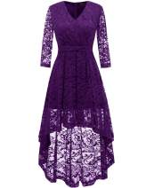 DRESSTELLS Women's Vintage Floral Lace 3/4 Sleeves Dress Hi-Lo Cocktail Party Swing Dress